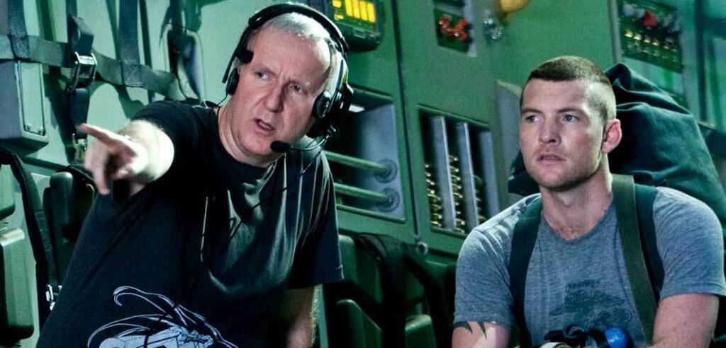 James Cameron & Sam Worthington am Set von Avatar