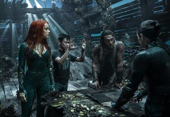 James Wan, Amber Heard und Jason Momoa am Set von Aquaman