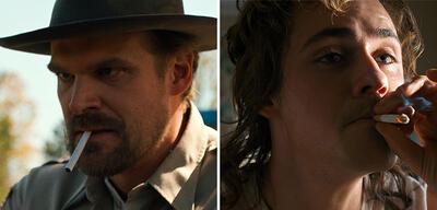 David Harbour und Dacre Montgomery in Stranger Things
